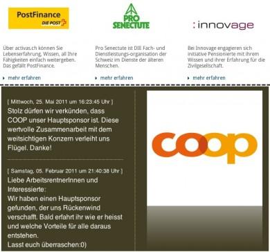 Drei Sponsoren bei activas.ch (oben), einer bei arbeitsrentner.ch (unten) unterstützen, was vordergründig toll klingt.
