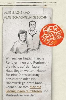 Deftige Sprache bei rentarentner.ch, wie dieser Ausschnitt der Homepage zeigt.